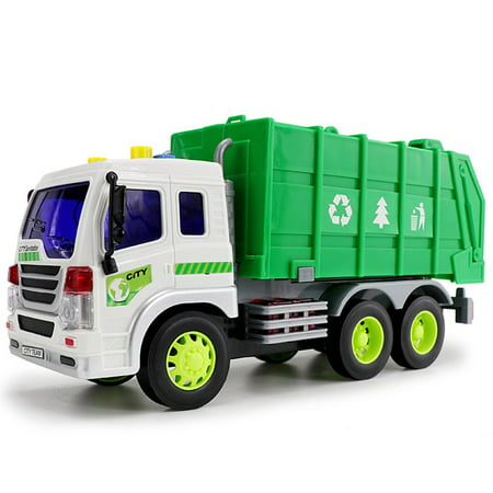 Large 1/16 Garbage Truck Bin Lorry Light & Sound Rubbish Recycling Trash Car - image 1 of 5