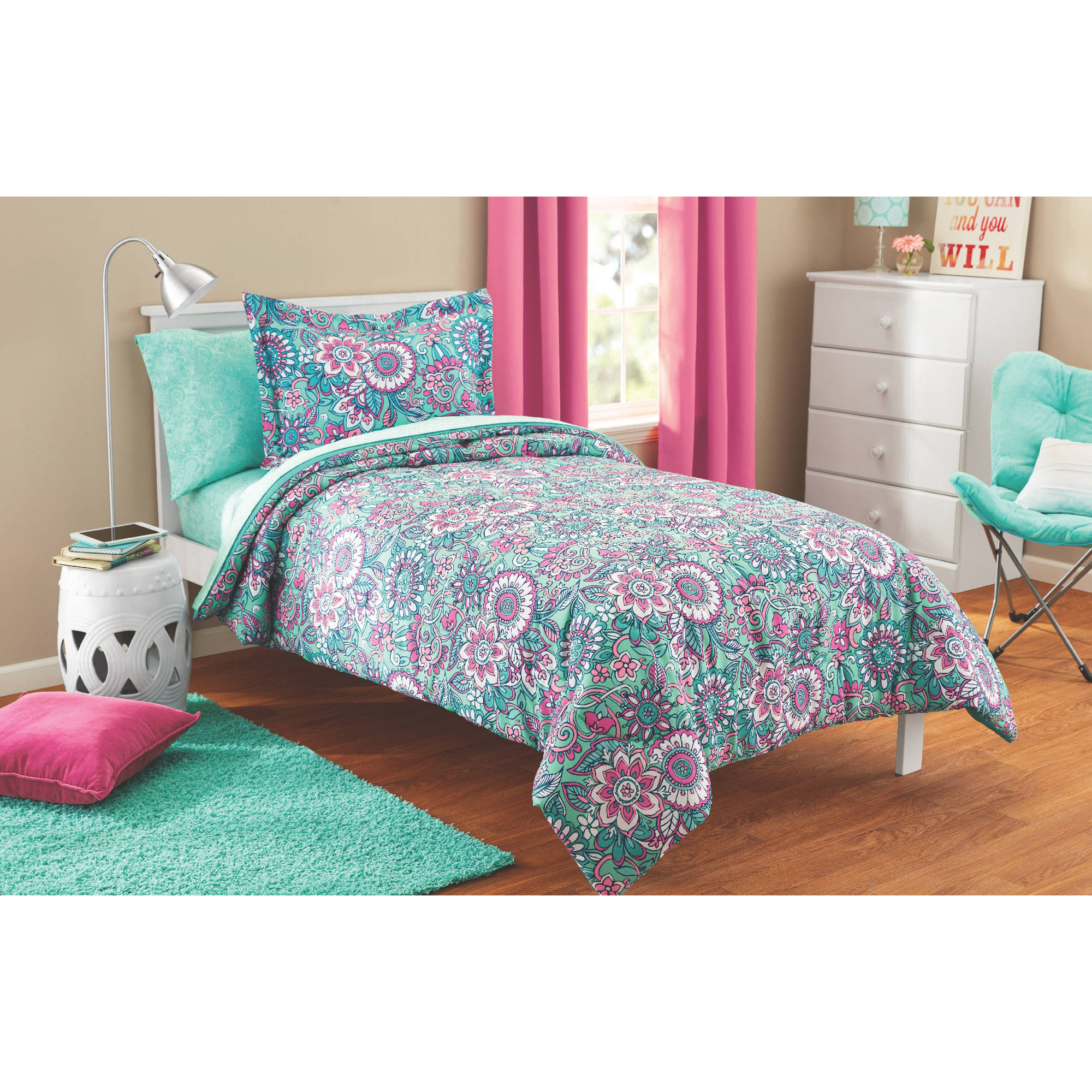 Mainstays Kids Floral Medallion Bed in a Bag Complete Bedding Set by Keeco