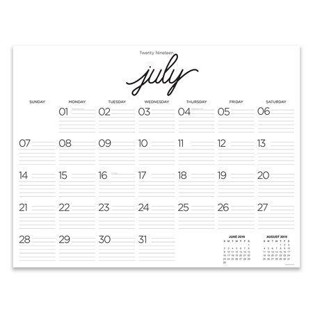 July 2019 - June 2020 Farmhouse Script Calligraphy Large Desk Pad Monthly Calendar 9 x12