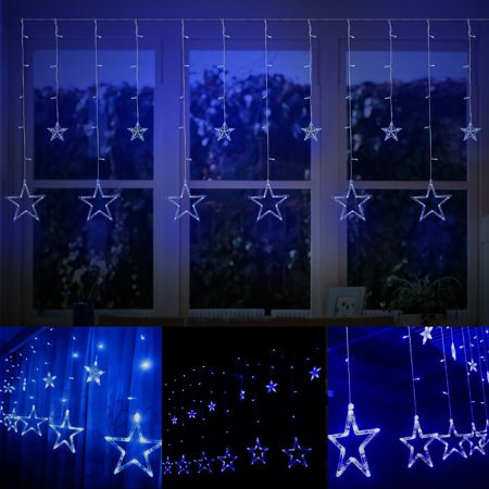 String Lights Curtain,12 Stars 138 Leds String Curtain Lights,3M Hanging Lighting Outdoor Waterproof Linkable Copper Window Lights Decoration For Wedding,Christmas,Holiday,Party,Home(Blue - Copper Decorations