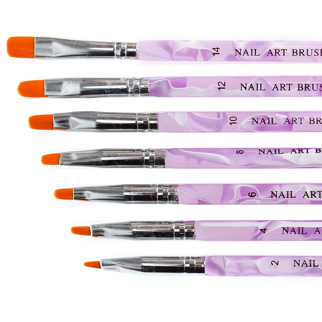 BMC 7pc UV Gel Acrylic False Nail Art Tips Builder Painting Detailing Brush Set