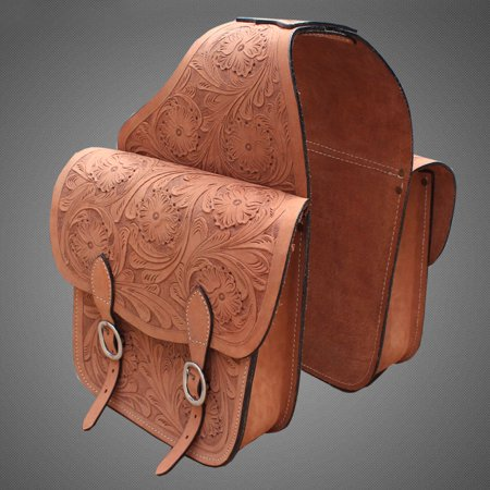 BG117F HILASON WESTERN HEAVY DUTY LEATHER COWBOY TRAIL RIDE HORSE SADDLE BAG TAN