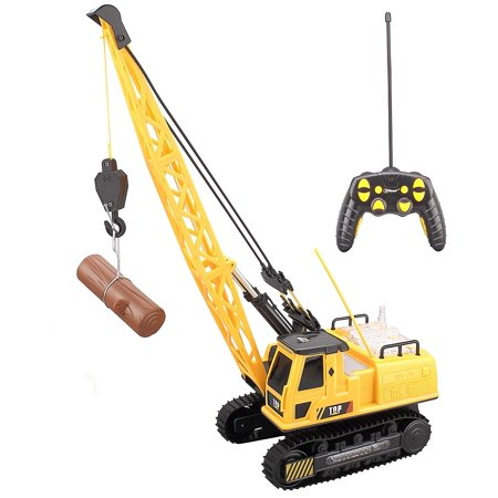 Top Race 12 Channel Remote Control Crane, Battery Powered Radio Control Construction Crane With Lights Sound (Thunder Power Pro Race)