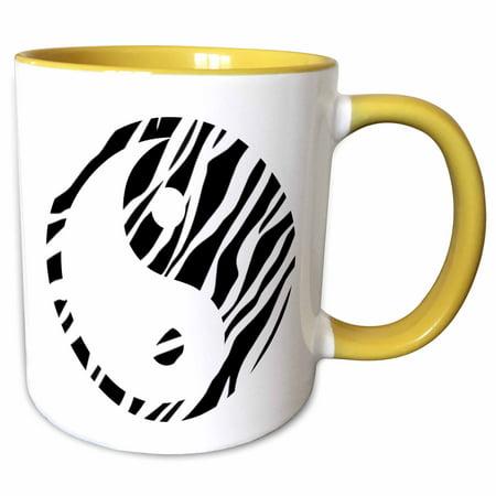 2 White Zebra - 3dRose Black and White Zebra Print Yin Yang - Inspirational Art - Two Tone Yellow Mug, 11-ounce