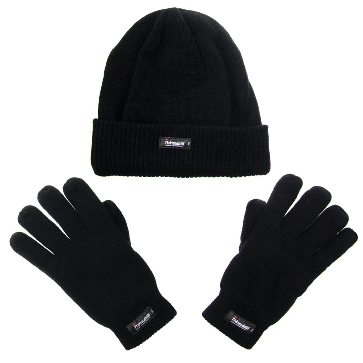 99f75d3c503a1 3M - 3M Men s Thinsulate 40g Black Beanie Hat   Gloves Fleece Lining For Winter  Snow Cold Weather Gear - Walmart.com