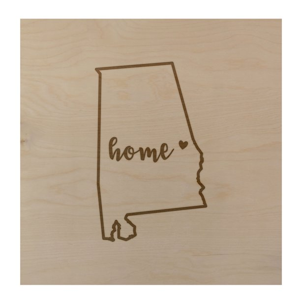 Alabama Home State Map 24x24 Wood Wall Art Office Decor Gift Engraved Al Walmart Com Walmart Com