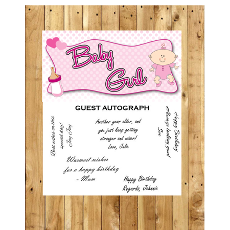 Baby Girl Baby Shower Guest Autograph Peel and Stick For Keepsake Removable Poster 13 x 24inches