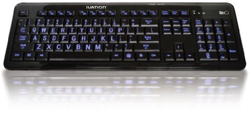Ivation Seven Color Adjustable Letter Illuminated Full Size Large Print Computer Keyboard