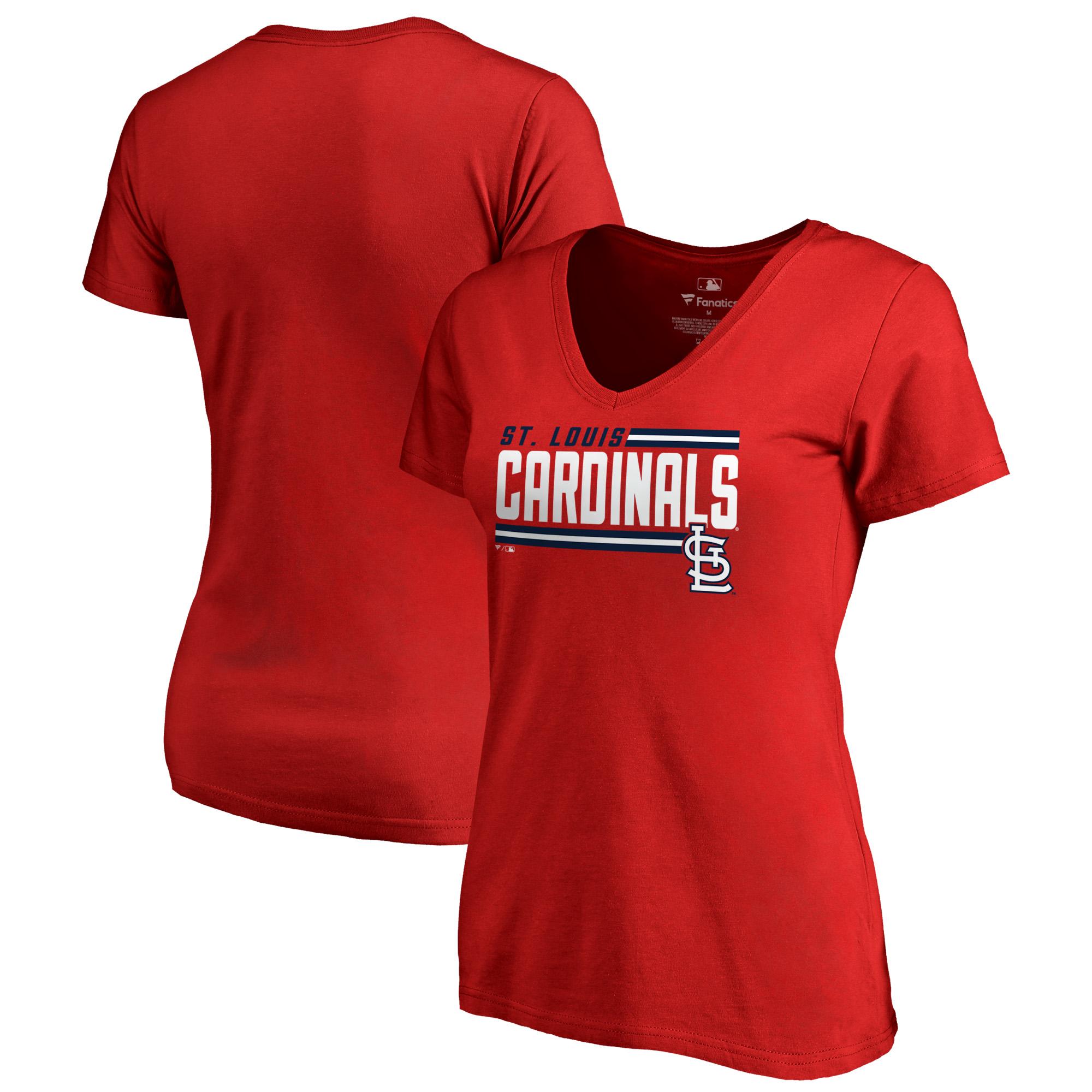 St. Louis Cardinals Fanatics Branded Women's Onside Stripe Plus Size V-Neck T-Shirt - Red