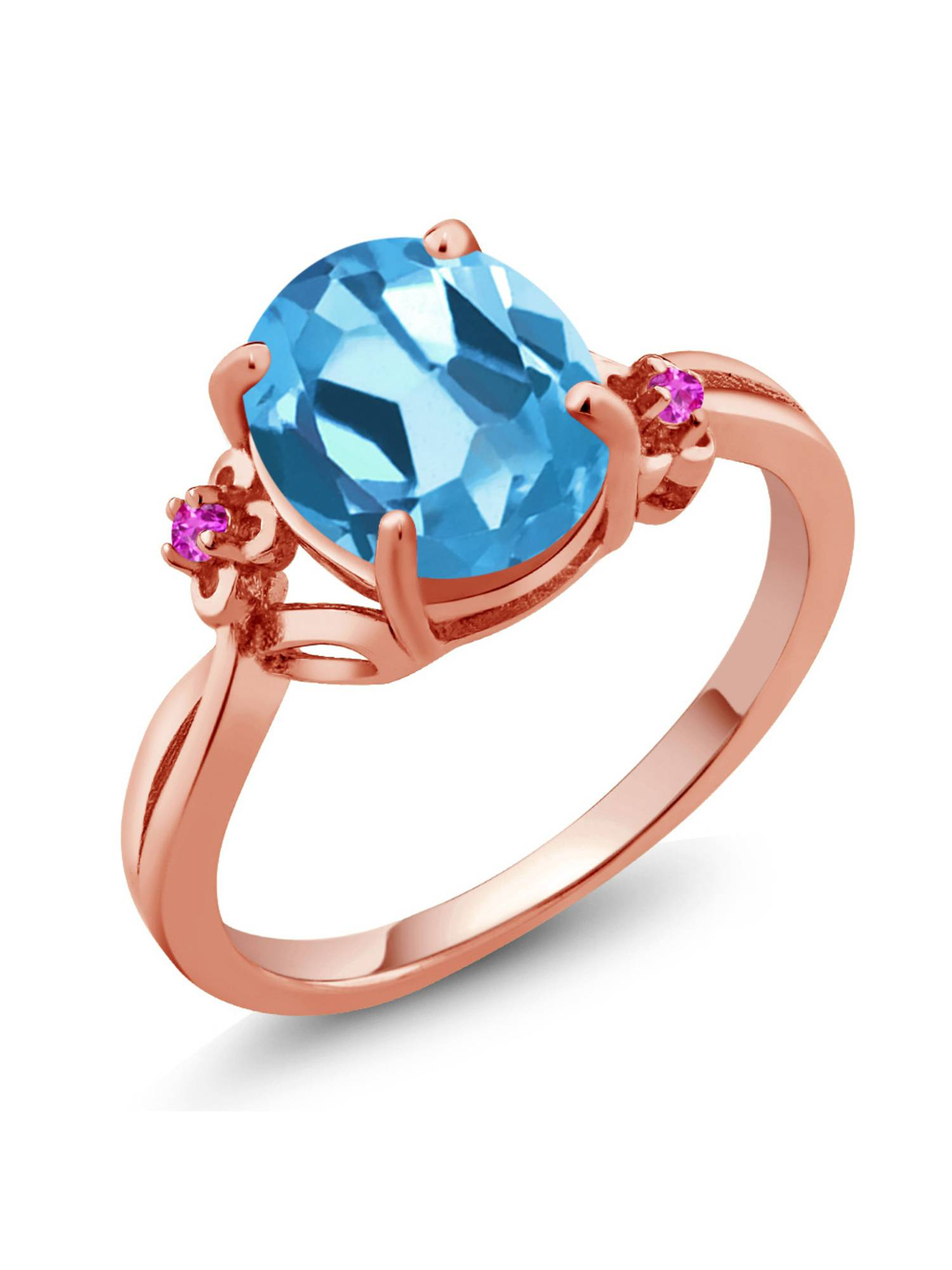 2.74 Ct Oval Swiss Blue Topaz Pink Sapphire 14K Rose Gold Ring by