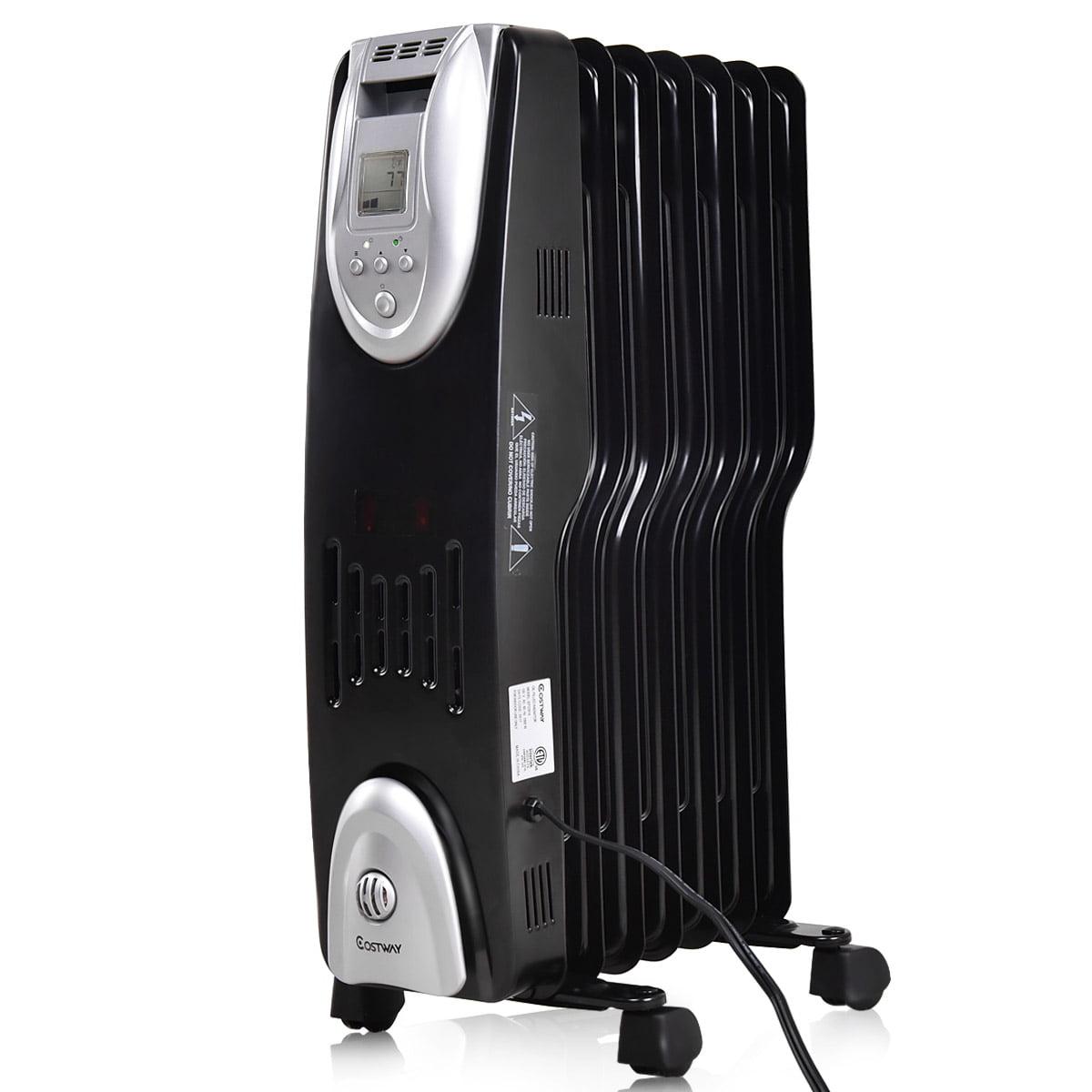 Costway 1500W Electric Oil Filled Radiator Heater Safe Digital Temperature Adjust Timer