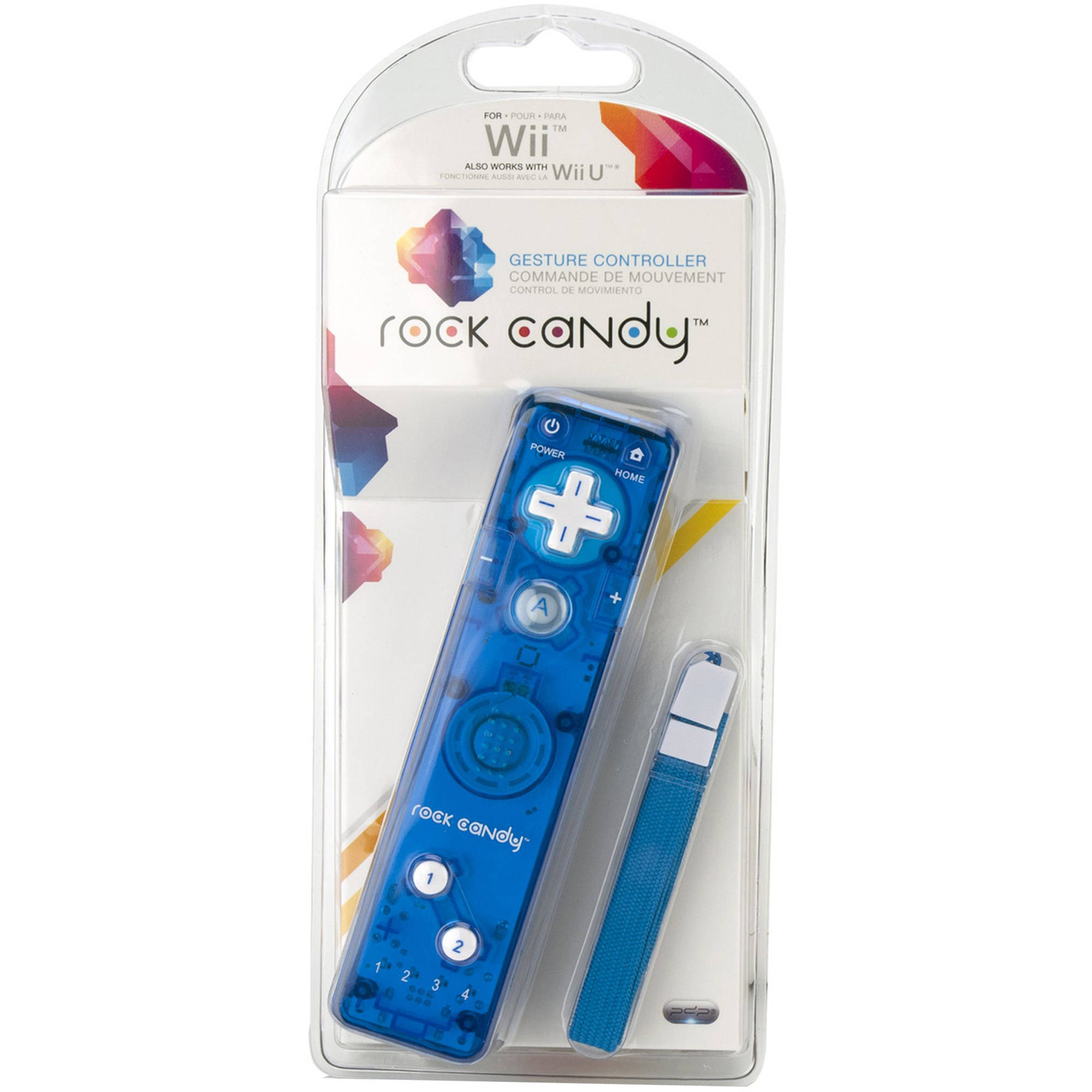 PDP Rock Candy Gesture Controller for Wii/Wii U 8560B, Blueberry Boom