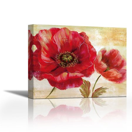 Passion For Poppies I - Contemporary Fine Art Giclee on Canvas Gallery Wrap - wall décor - Art painting - 36 x 29 Inch - Ready to Hang