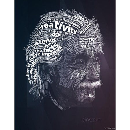 Albert Einstein Education Silk Fabric Cloth Poster Picture Painting Art Wall Home Decor 17 X 13