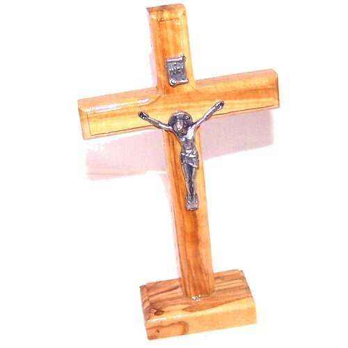 Olive wood table or standing Latin Crucifix from Bethlehem ( 13.5 cm or 5.3 inches high )