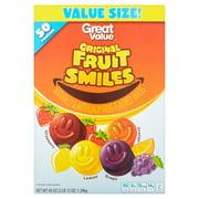 Great Value Original Fruit Smiles, 45 oz, 50 Count
