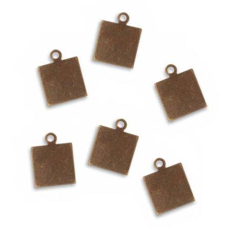 Vintaj Natural Brass Rustic Altered Blank Square Pendants 10mm (6)