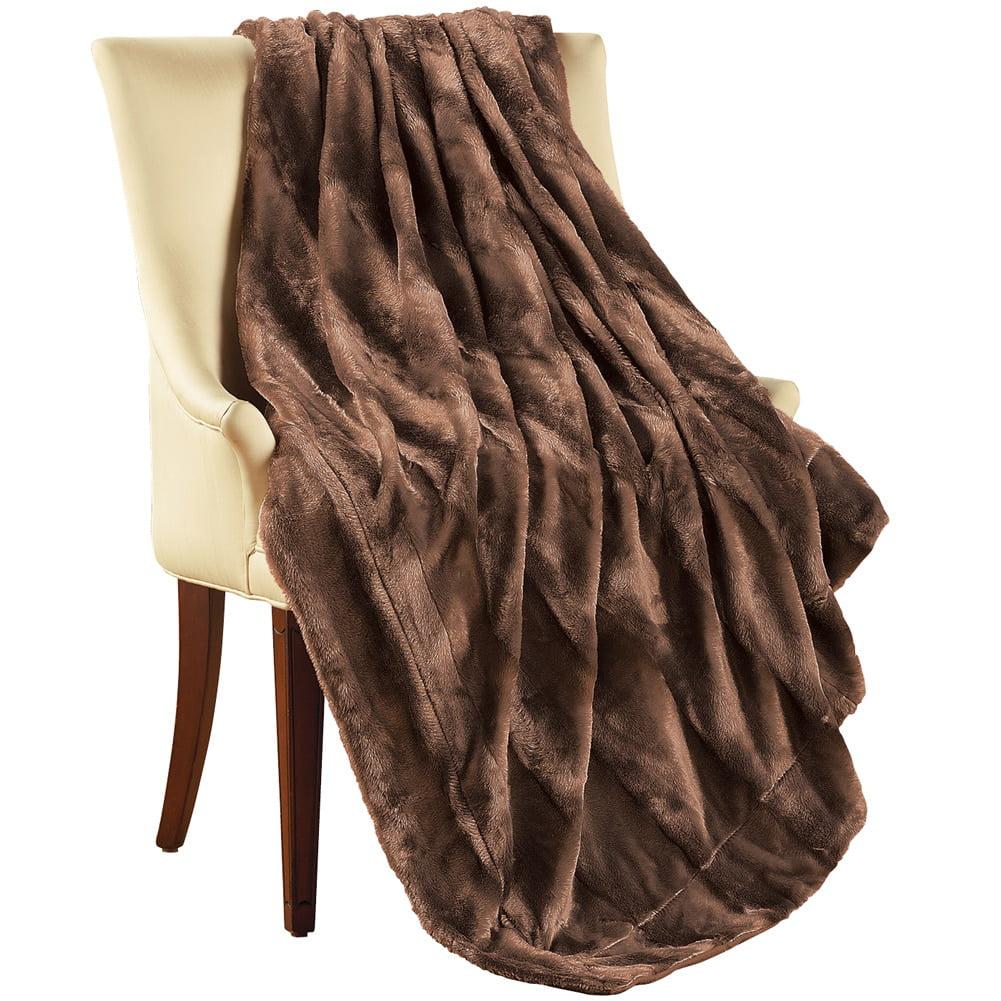 Elegant & Soft Faux Fur Throw Blanket, Chocolate