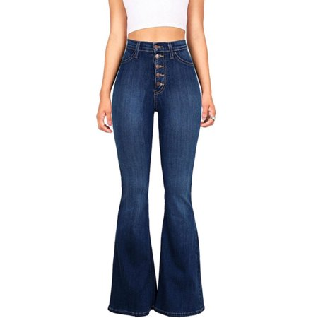 Women Vintage High Waisted Flared Bell Bottom Jeans Trendy Denim Pants