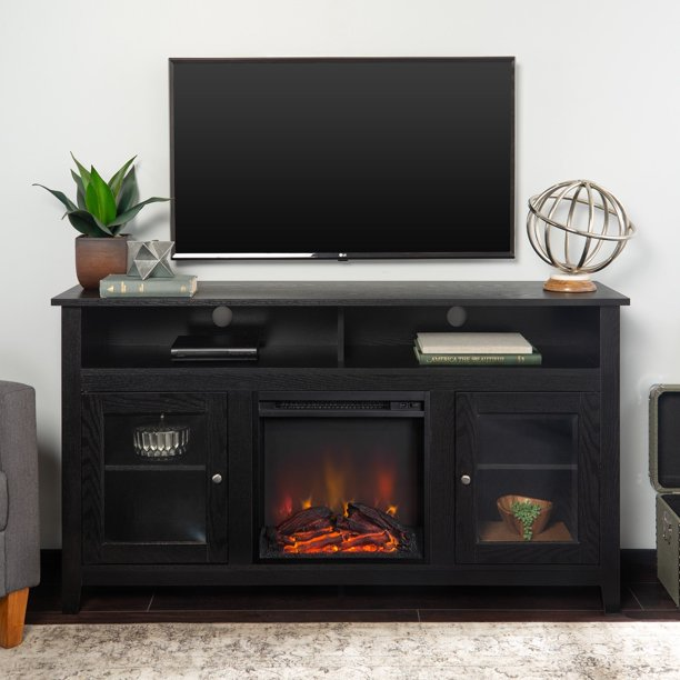 "Middlebrook Designs 58"" Highboy Fireplace TV Stand Console - Black - 58 x 16 x 32h"