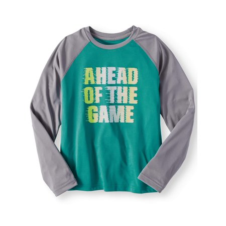 Athletic Works Boys Long Sleeve Raglan Graphic Tee Shirt
