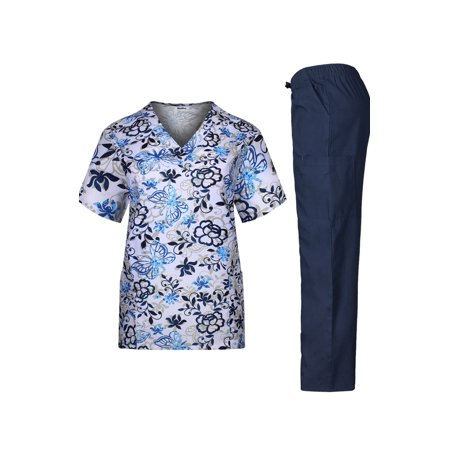 Medical Scrub Set Printed V-Neck Top and Cargo Pants