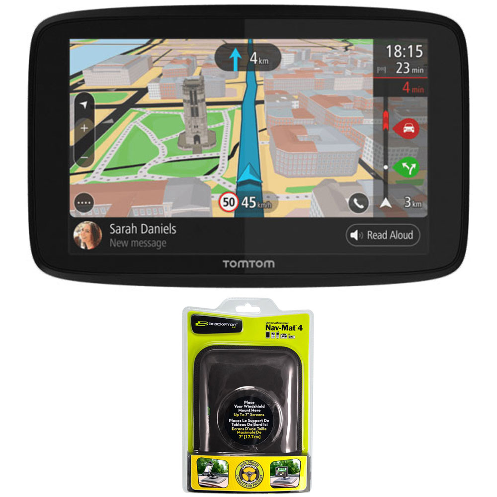 """TomTom GO 520 GPS 5"""" Touch Screen (US-CAN-MEX) with Nav-Mat 4 Portable GPS Dash Mount by TomTom"""