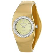 Women's PS272G Swiss Gold Plated Stainless Steel Swarovski Crystal Accented Cuff Watch