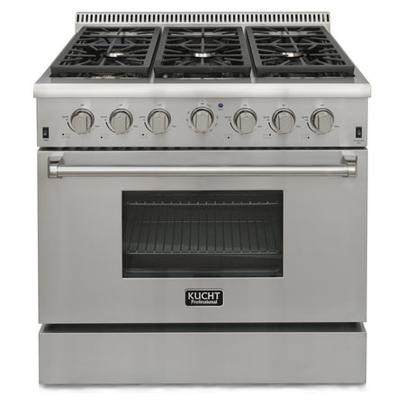 KUCHT Professional 36 in. 5.2 cu. ft. LP Gas Range with Sealed Burners and Convection Oven in Stainless Steel