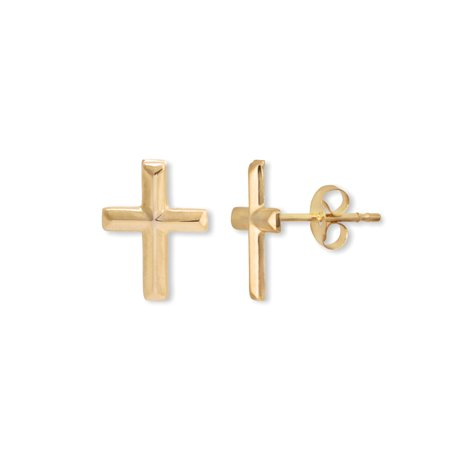 14kt Gold Cross Stud Earrings