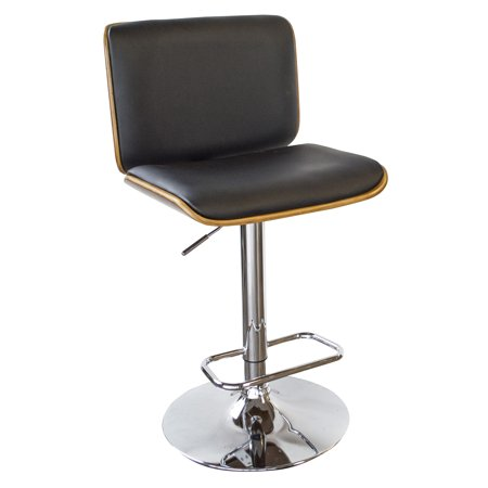 Peachy Amerihome Bent Wood Noir Faux Leather Bar Stool Evergreenethics Interior Chair Design Evergreenethicsorg