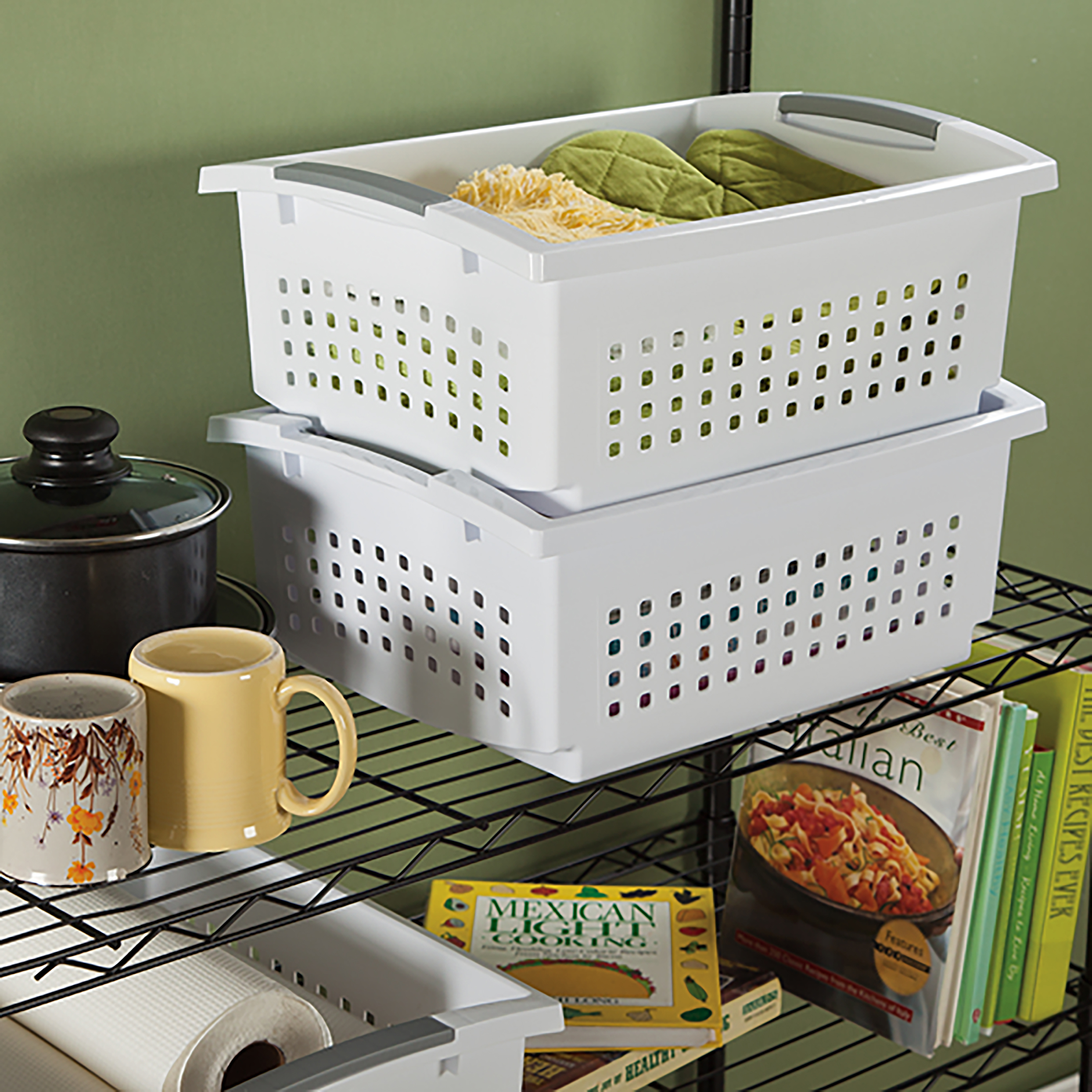 "Sterilite Large Stacking Storage Basket-17.125""X13""X15"" White"