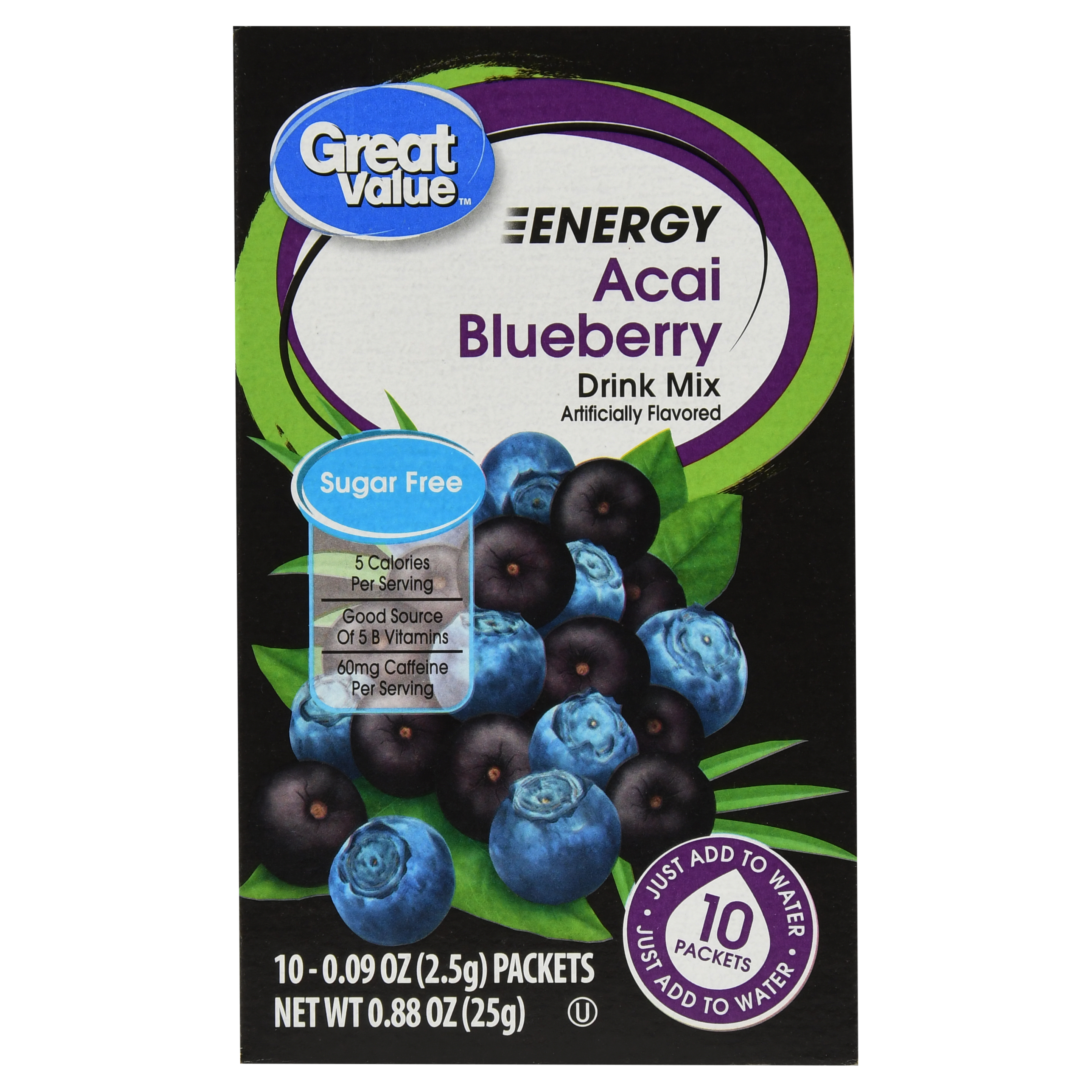 Great Value Energy Drink Mix, Acai Blueberry, Sugar-Free, 0.88 oz, 10 Count
