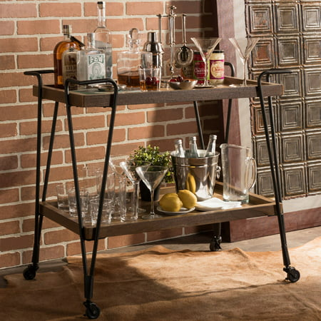 Baxton Studio Jessica Rustic Industrial Style Antique Black Textured Finish Metal Distressed Ash Wood Mobile Serving Bar Cart ()