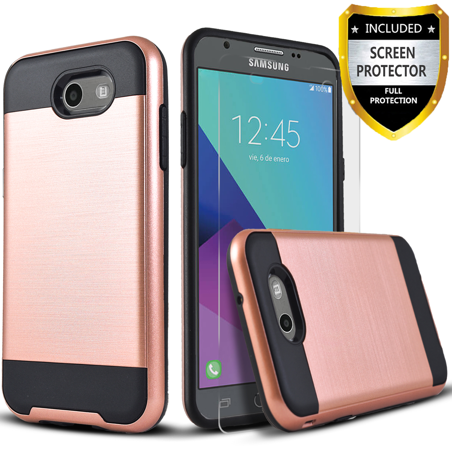 Galaxy J7 V Case, Galaxy J7 Perx Case, Galaxy J7 Sky Pro Case, 2-Piece Style Hybrid Shockproof Hard Case Cover with [Premium Screen Protector] Hybird Shockproof And Circlemalls Stylus Pen (Rose Gold)