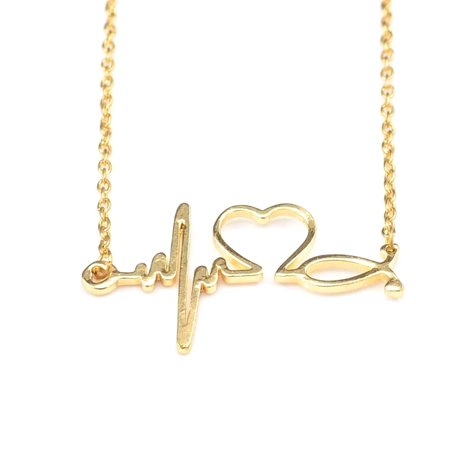iLH Mallroom Heartbeat Heart Shaped Electrocardiogram Necklace Pendant Rhythm
