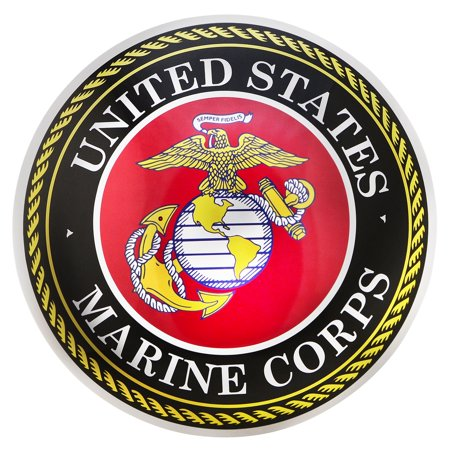 US Marine Corps Tin Metal Round Dome Button Sign USMC Emblem Home Bar Wall (Usmc Letters)