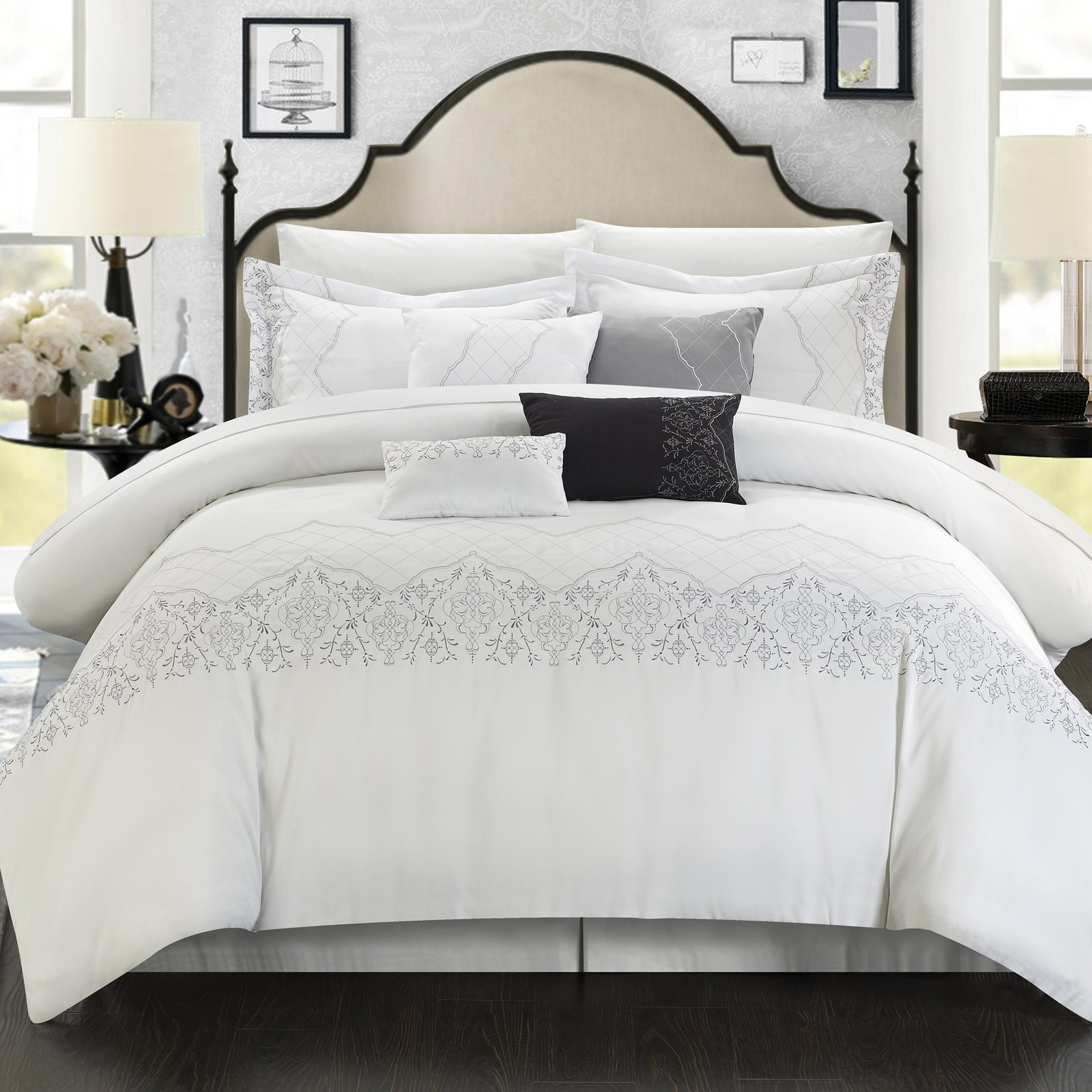 Chic Home Gratia Oversized Overfilled Embroidered 8-Piece Comforter Set
