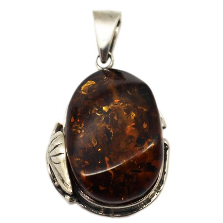 Oval Golden Amber Nugget on Silver Vine Pendant