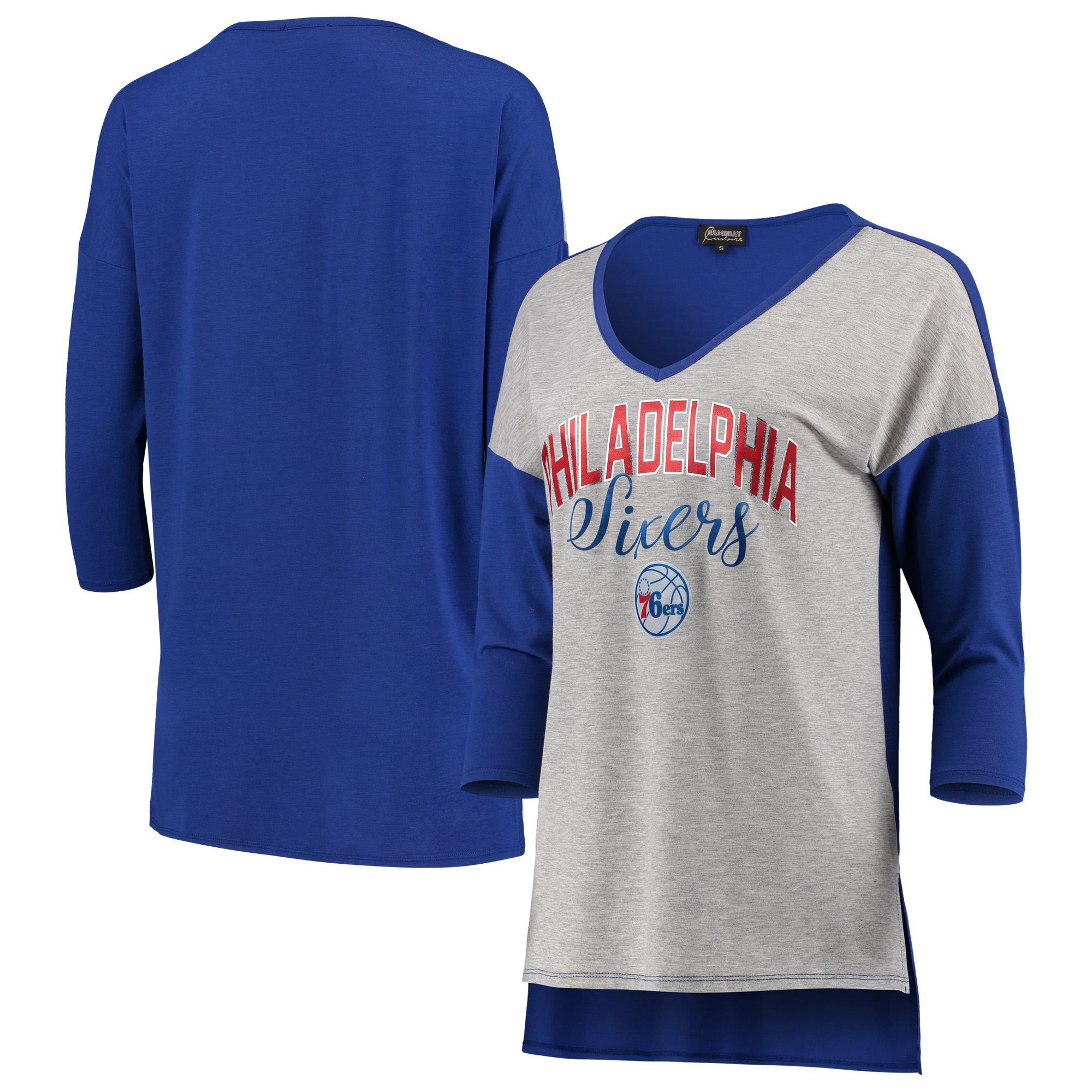 Philadelphia 76ers Women's Meet Your Match Colorblock 3/4-Sleeve Tri-Blend V-Neck T-Shirt - Heathered Gray