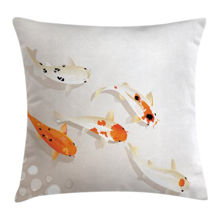Ocean Animal Decor Throw Pillow Cushion Cover, Traditional Asian Sacred Spotty Koi Carps Oriental Sign of Love Zen, Decorative Square Accent Pillow Case, 18 X 18 Inches, Orange Beige, by (Asian Oriental Square Stand)