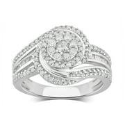 3/4 Carat T.W Diamond Cluster Sterling Silver Engagement Ring. (I-J/I2-I3)