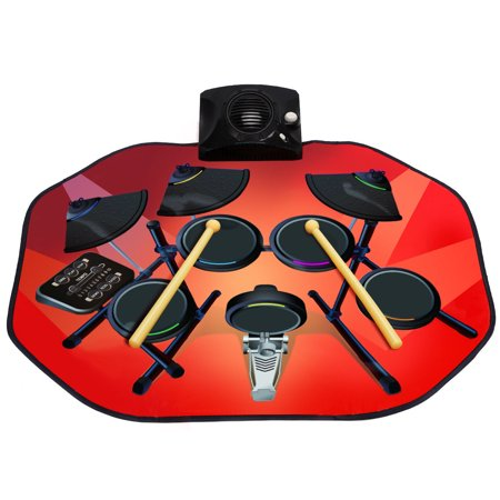 Costway Electronic Glowing Drum Mats Kit Set Floor Fun Play w/ MP3 Cable &