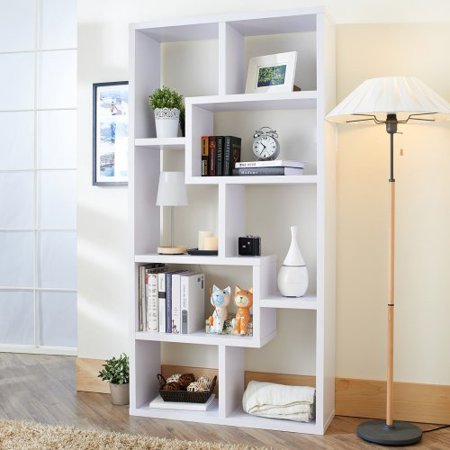 Furniture Of America Verena Contoured Leveled Display Cabinet Bookcase White