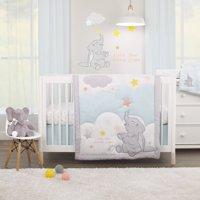 Disney Dumbo - Shine Bright Little Star Aqua, Grey, Yellow and Orange 3 Piece Nursery Crib Bedding Set - Comforter, Fitted Crib Sheet, Dust Ruffle