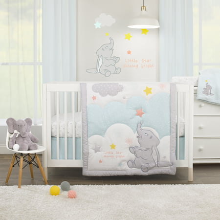 Disney Dumbo - Shine Bright Little Star Aqua, Grey, Yellow and Orange 3 Piece Nursery Crib Bedding Set - Comforter, Fitted Crib Sheet, Dust Ruffle