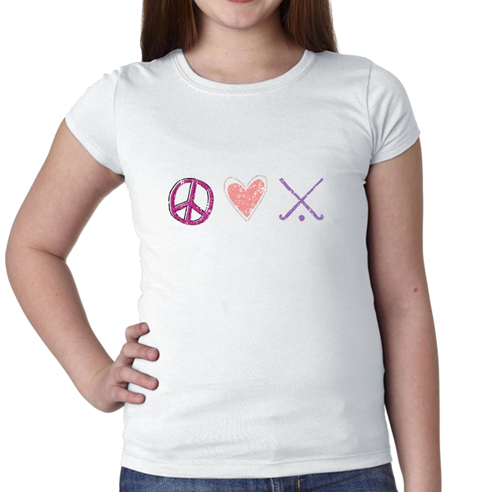 Peace Love Field Hockey Symbols Crossed Sticks Girl's Cotton Youth T-Shirt by Hollywood Thread