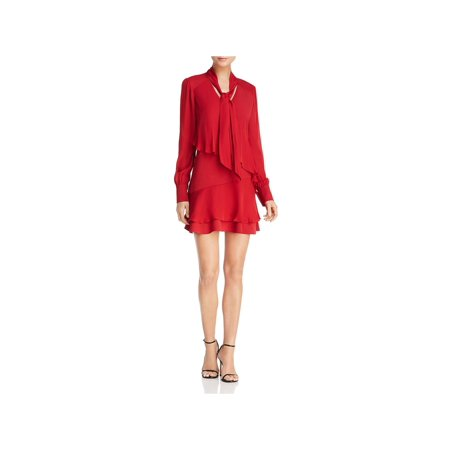 Parker Womens Kenji Tiered Ruffle Party Dress Red XS