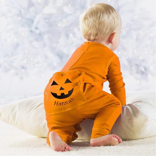 Personalized Halloween Baby Pumpkin Long Johns