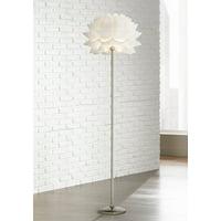 Possini Euro Design Modern Floor Lamp Brushed Steel White Orb Petal Flower Shade Dimmable for Living Room Reading Bedroom Office